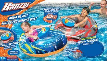 5. Banzai Aqua Blast Blue Motorized Bumper Boat