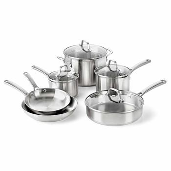 6. Calphalon Classic Pans and Pots Set, Stainless Steel, 10-Piece Cookware Set