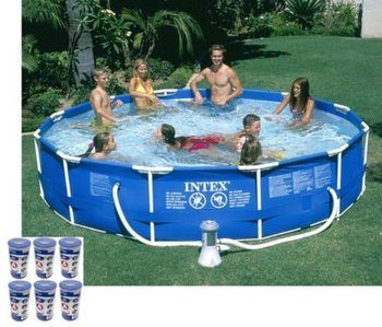 8. Intex 12 x 30 Metal Frame Inflatable Swimming Pool  -with 530 GPH Filter Pump
