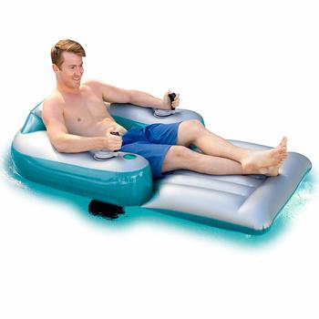9. Pool candy Splash Runner Inflatable Pool Lounger with Dual Motors