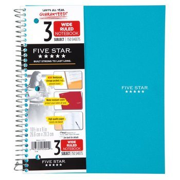 10. Five Star Spiral Notebook, 3 Subject
