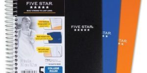 10. Five Star Spiral Notebook, 5 Subject, College Ruled