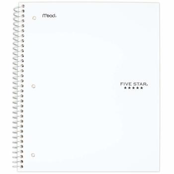 7. Five Star Spiral Notebook, 3 Subject, 150 sheets, White