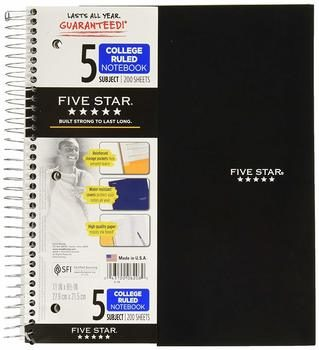 8. Five Star Spiral Notebook, 5 Subject, 200 Sheets