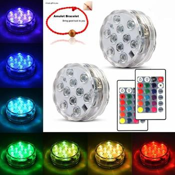 1. Underwater Submersible LED Lights Waterproof Multi Color Battery Operated Remote
