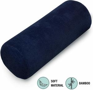 #10 Bamboo Navy Round Cervical Roll Cylinder Bolster Pillow