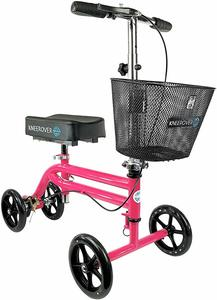 #10 KneeRover Steerable Knee Scooter Knee Walker Crutch Alternative in HOT PINK