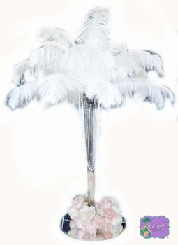 11 Ostrich Feathers 100 Pcs. White Tail Ostrich Feather Plumes 14 to 18 inches Long. U.S.A.