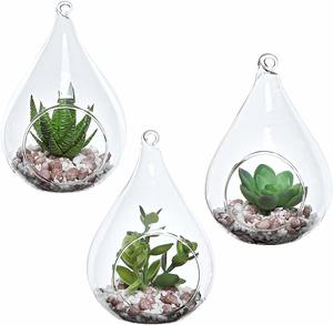 4. MyGift Set of 3 Hanging Glass Faux Succulent Container Vases