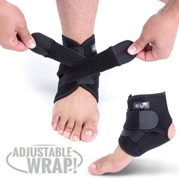 5 Ankle Support Brace, Neoprene Sleeve, Adjustable Wrap