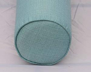 #8 dqp Round Bolster Pillow Cover. Linen-Turquoise