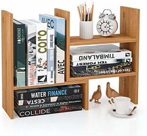 #10 Homfa Bamboo Desk Storage organizers Adjustable Desktop Display Shelf Rack Multipurpose Bookshelf for Office Kitchen