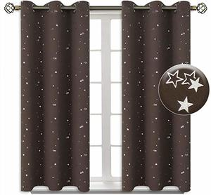 #3 BGment Kids Blackout Curtains for Bedroom - Grommet Thermal Insulated Silver Star Print Room Darkening Curtains for Living Room, Set of 2 Panels (38 x 45 Inch, Brown)
