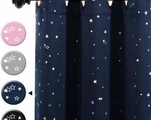#4 H.VERSAILTEX Blackout Curtains Kids Room for Boys Girls Thermal Insulated Twinkle Silver Stars Pattern Curtain Drapes