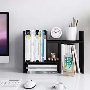 #4 Jerry & Maggie - Desktop Organizer Office Storage Rack Adjustable Wood Display Shelf - Free Style Double H Display - True Natural Stand Shelf - Black