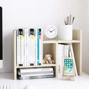 #5 Jerry & Maggie - Desktop Organizer Office Storage Rack Adjustable Wood Display Shelf - Free Style Double H Display - True Natural Stand Shelf - White Wood Tone