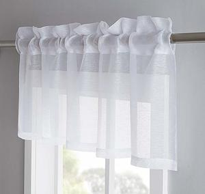 #5 LinenZone Jane - Semi-Sheer Window Valance (54 x 18) - Elegant Home Decor Window Treatments - Add to Window Curtains for Enhanced Effect (1 Valance 54 W x 18 L, White)