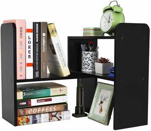 #6 PAG Desktop Bookshelf Adjustable Countertop Bookcase Office Supplies Wood Desk Organizer Accessories Display Rack