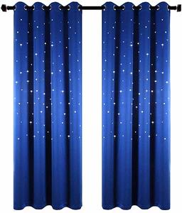 #7 Anjee Starry Sky Blackout Curtains with Laser Cutting Stars for ChildrenG��s Room