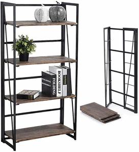 #7 Coavas No-Assembly Folding-Bookshelf Storage Shelves 4 Tiers Bookcase Home Office Cabinet Industrial Standing Racks Study Organizer 23.6 X 11.8 X 49.4 Inches Corner BakerG��s Racks