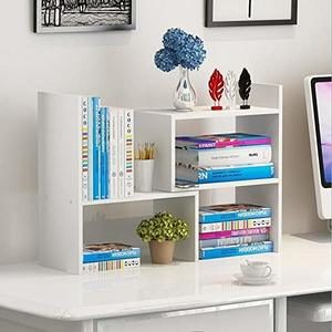 #8 Hossejoy Wood Adjustable Desktop Storage Organizer Display Shelf Rack