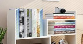 #9 Expandable Wood Desktop Bookshelf Desktop Organizer Office Storage Rack Wood Display Shelf - Free Style Display True Natural Stand Shelf Rack Assembled Bookcase Adjustable Display Rack