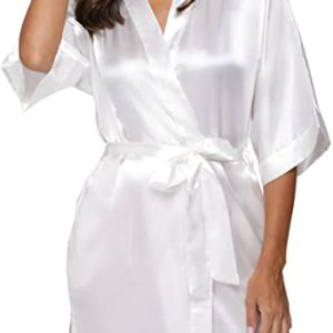 #1- The Bund Women's Pure Colour Short Satin Kimono Robes
