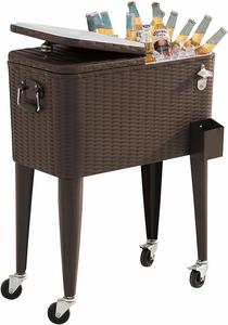1. Sunjoy 60 Qt Cooler Wicker Decorative Pattern