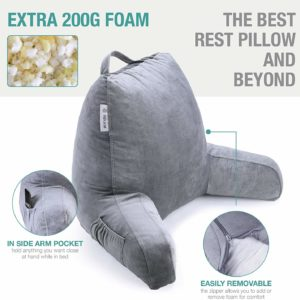 10. Vekkia Premium Soft Reading & Bed Rest Pillow