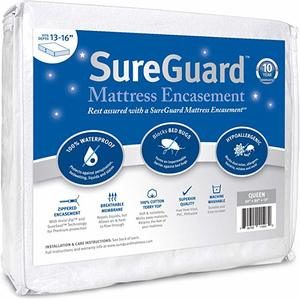 #3- SureGuard Mattress Encasement Waterproof Six-Sided Cover