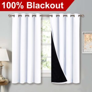 3. Nicetown White 100% Blackout lined Curtains