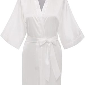 #4- Women's Pure Color Satin Kimono Robes