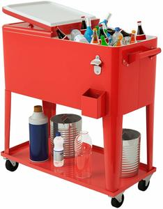 4. Giantex 80- Quart Cooler Beer Cart Outdoor Entertaining