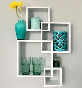 4. Greenco Decorative 4 Cube Intersecting Wall Mounted Floating Shelves