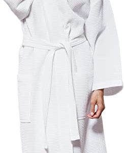 #6- Turquaz Linen Lightweight Long Waffle Kimono Unisex Spa Robe