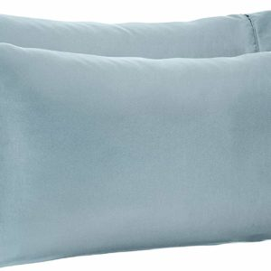 #6. AmazonBasics Light-Weight Microfiber Pillowcases - 2-Pack, King, Spa Blue