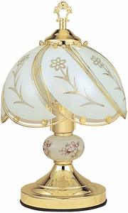 6. Ore International K313 White Glass Floral Touch Lamp