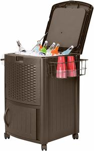7. Suncast Resin Wicker Outdoor Cooler with Wheels