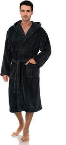#9. TowelSelections Men's Robe, Plush Fleece Hooded Spa Bathrobe
