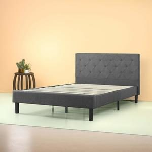 1. Zinus Shalini Upholstered Diamond Stitched Platform Bed