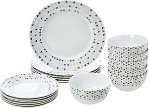 10. AmazonBasics 18-Piece Kitchen Dinnerware Set