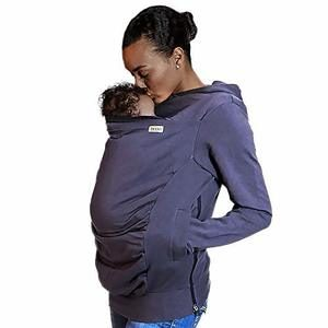 10. Boba Hoodie, Grey (Large) Baby Carrier Cover Hooded Sweatshirt