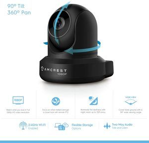 #2 Amcrest ProHD 1080P WiFi Camera 2MP (1920TVL) Indoor Pan