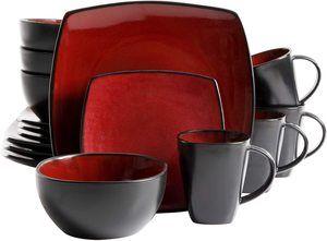 2. Gibson Elite Soho Lounge 16-Piece Square Reactive Glaze Dinnerware Set