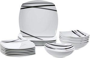 6. AmazonBasics 18-Piece Square Kitchen Dinnerware Set