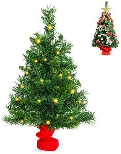 6. La fete 24'' Pre Lit Tabletop Artificial Christmas Tree