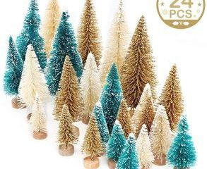 7. AerWo 24PCS Artificial Mini Christmas Trees