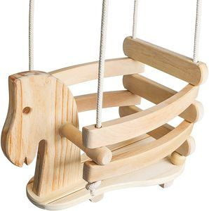 7. Wooden Horse Toddler Swing Set