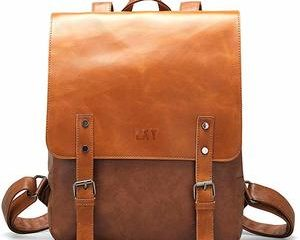 8. LXY Vegan Leather Backpack Vintage Laptop Bookbag
