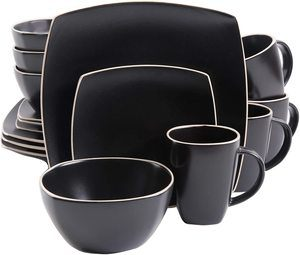 9. Gibson Overseas 102261.16RM Soho Lounge Square 16-Piece Dinnerware Set Service of 4